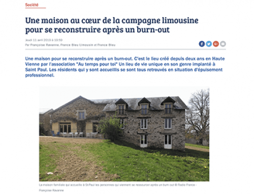 Article web par « France Bleu Limousin », le 11 avril 2019